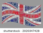 mosaic covid lockdown waving... | Shutterstock .eps vector #2020347428