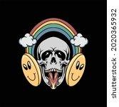 funny skull illustration vector ...   Shutterstock .eps vector #2020365932