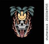 funny skull illustration vector ...   Shutterstock .eps vector #2020365935