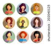 avatars  business women flat... | Shutterstock . vector #202040125