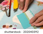 scrapbook background. card and... | Shutterstock . vector #202040392