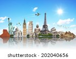 famous monuments of the world... | Shutterstock . vector #202040656