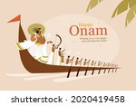 king mahabali and rowers in a...   Shutterstock .eps vector #2020419458