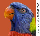 parrot face with geometry...   Shutterstock .eps vector #2020472045