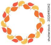 circular frame  fall leaves... | Shutterstock .eps vector #2020490342