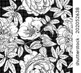seamless vintage pattern with... | Shutterstock .eps vector #202052638