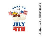 red white blue born on july 4th ... | Shutterstock .eps vector #2020537625