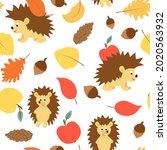 hedgehog apple leaf and acorn... | Shutterstock .eps vector #2020563932