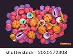 halloween candy. 3d vector... | Shutterstock .eps vector #2020572308
