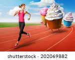 woman running away from sweets | Shutterstock . vector #202069882
