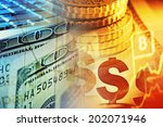 euro coins and us dollar... | Shutterstock . vector #202071946