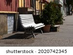 White wooden bench in the...