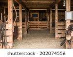 Old Wooden Barn Interior. Barn...