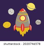 space composition with rockets...   Shutterstock .eps vector #2020746578