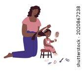 mom combing his daughter hair....   Shutterstock .eps vector #2020867238