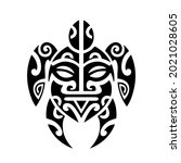 sea turtle and face maori style ...   Shutterstock .eps vector #2021028605
