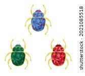 three beetles of different... | Shutterstock .eps vector #2021085518