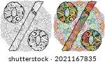 percent sign on mandala... | Shutterstock .eps vector #2021167835