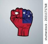 samoa flag with hand design... | Shutterstock .eps vector #2021171768