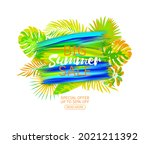 poster with tropical leaves...   Shutterstock . vector #2021211392