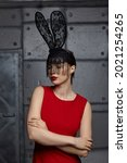 Young Woman In Black Rabbit Or...