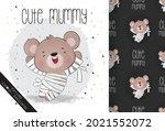 cute mummy little bear happy... | Shutterstock .eps vector #2021552072