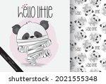 cute mummy little panda happy... | Shutterstock .eps vector #2021555348