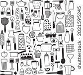 kichen utencils and cutlery big ... | Shutterstock .eps vector #2021595245