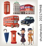 famous london sights and retro... | Shutterstock .eps vector #202174948