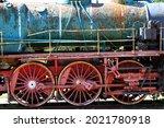 Vintage locomotive wheels. High quality photo. Selective focus