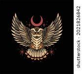 owl tattoo illustration vector...   Shutterstock .eps vector #2021826842