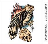 owl tattoo illustration vector...   Shutterstock .eps vector #2021826845