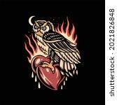 owl tattoo illustration vector...   Shutterstock .eps vector #2021826848