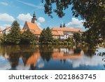 telc in summer  old town. czech ...   Shutterstock . vector #2021863745