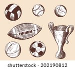 set of different sketch balls. ... | Shutterstock .eps vector #202190812