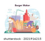 fast food  burger house concept.... | Shutterstock .eps vector #2021916215