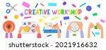 handmade workshop banner. kids...   Shutterstock .eps vector #2021916632