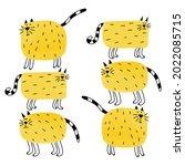 funny doodle cats. cartoon cute ...   Shutterstock . vector #2022085715
