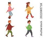 cartoon set of cute kids in...   Shutterstock . vector #2022085718