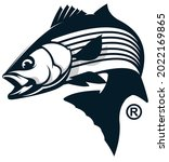 stripped bass fishing logo ...   Shutterstock .eps vector #2022169865