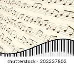 piano keyboard against faded... | Shutterstock .eps vector #202227802
