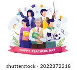 happy teacher's day with a... | Shutterstock .eps vector #2022372218