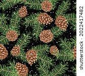 vector evergreen christmas tree ... | Shutterstock .eps vector #2022417482