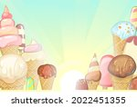 winter landscape with ice cream....   Shutterstock .eps vector #2022451355