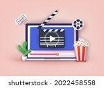 concept of online home cinema.... | Shutterstock .eps vector #2022458558