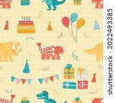 cute dinosaurs festive seamless ... | Shutterstock .eps vector #2022493385