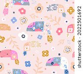 childish seamless pattern with... | Shutterstock .eps vector #2022501692