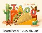 3d Mexico Desert Theme Taco Ad...