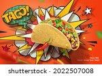 3d spicy taco ad banner in... | Shutterstock .eps vector #2022507008