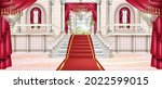 Palace vector interior background, luxury castle hall, marble staircase, arch window, carpet, chandelier. Rich classic ballroom, red curtain, balustrade, pillars. Vintage fairytale palace interior